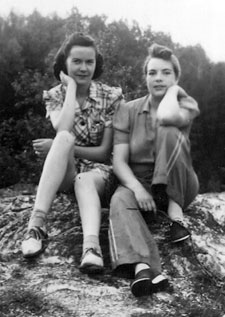 Anna (Hennessy) Wesenberg and Eileen (O'Toole) Hennessy, at Tetagouche Falls, Bathurst, circa 1940.